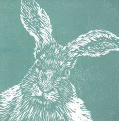 March Hare, an original linocut print in teal by Jane Duke