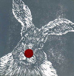 Mad March Hare, an original linocut print made for Comic Relief 2015 by Jane Duke