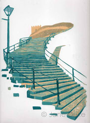 Original linocut print of the 199 Steps in Whitby, Yorkshire, by Jane Duke