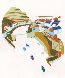 An original linocut print of Staithes in Yorkshire by Jane Duke