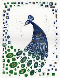 An original linocut print of a peacock depicted in a Klimt style, by Jane Duke