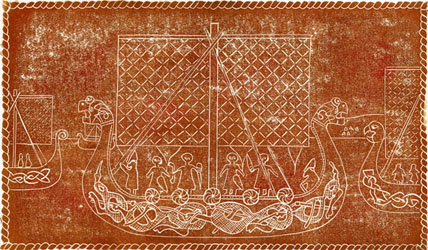 An original linocut print of Viking longships, derived from historical artefacts, by Jane Duke