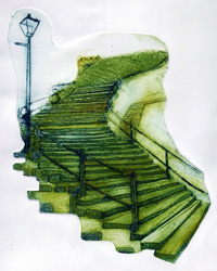 collagraph print of the historic steps in Whitby, North Yorkshire
