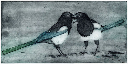collagraph print of two magpies by Jane Duke