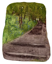 collagraph print by Jane Duke of a woodland scene