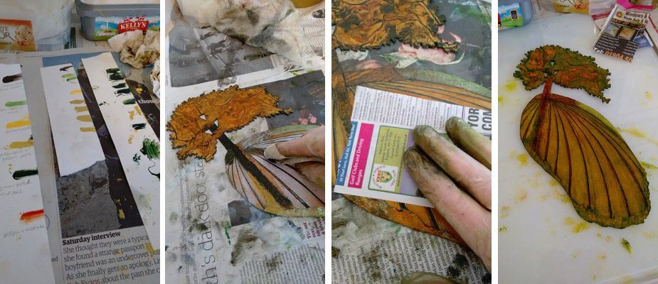 stages of making a collagraph