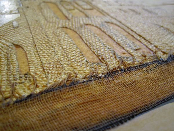 detail of a collagraph plate
