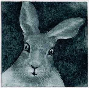 monoprint collagraph of a hare