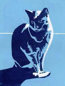 linocut image of a cat by Jane Duke