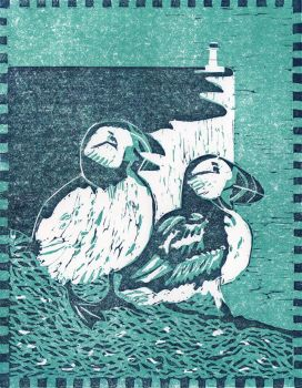 Puffins (Turquoise)