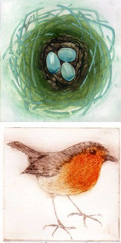 collagraph and drypoint prints