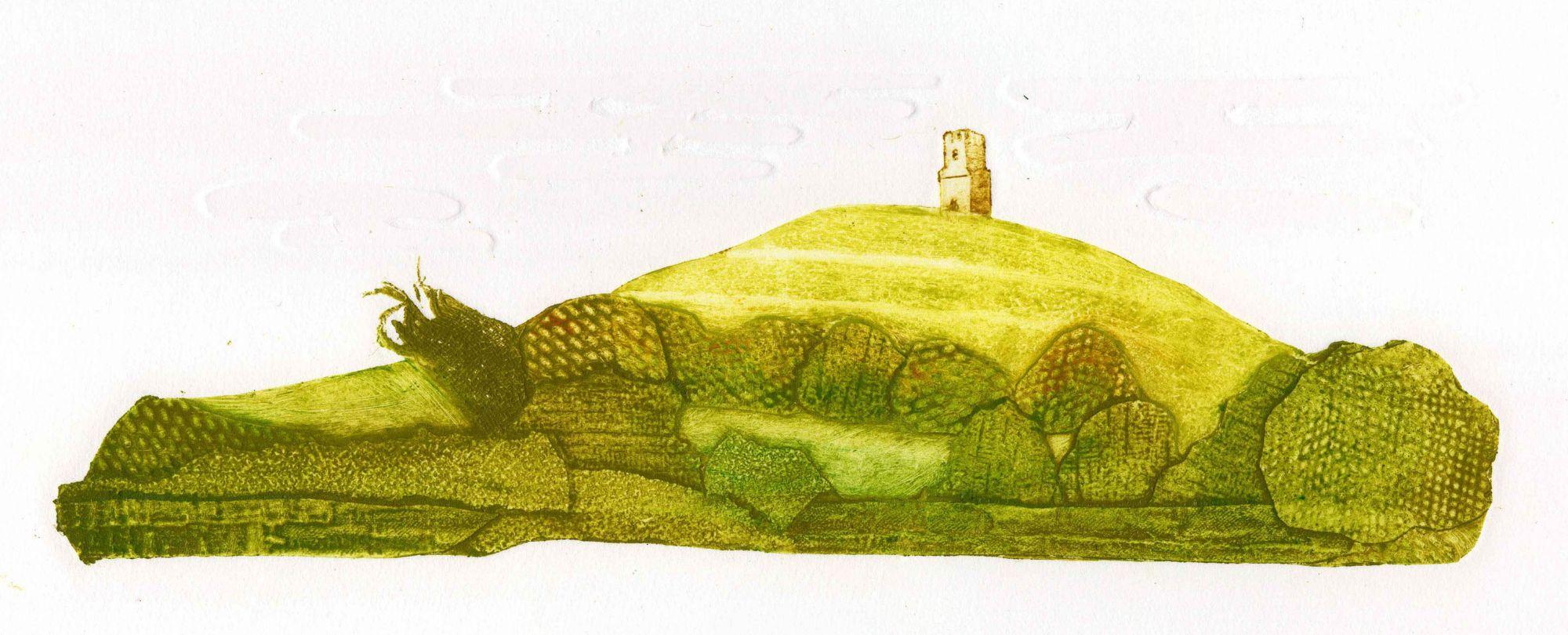 collagraph print of Glastonbury Tor
