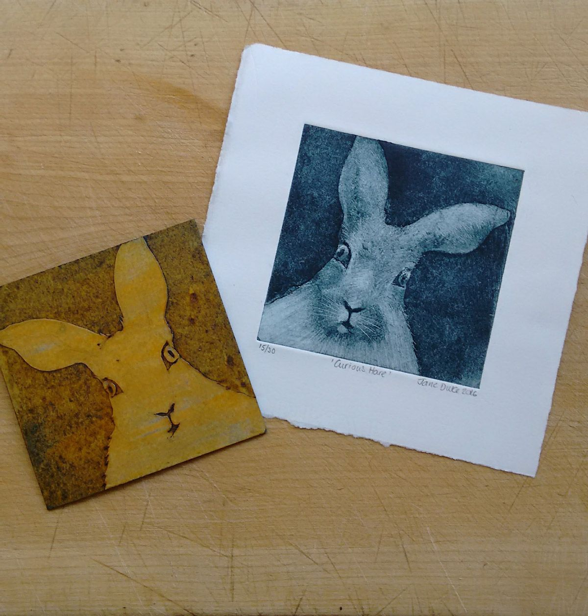 Mini Monoprint collagraph of a hare