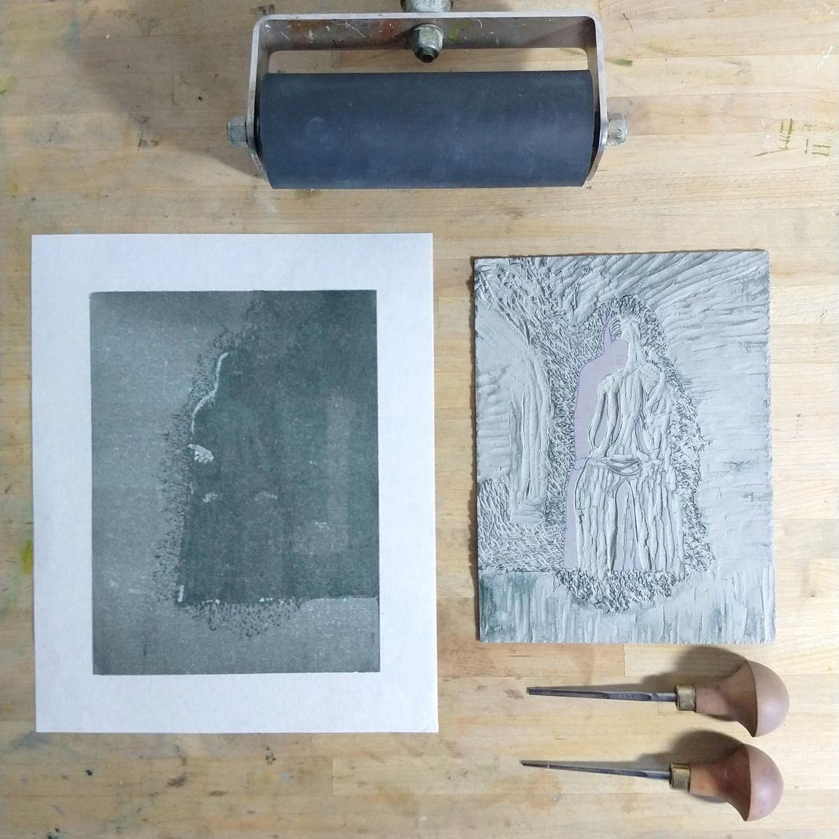 Melmoth print with plate and tools