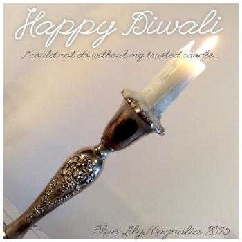 happy diwali candle burning blue lily magnolia