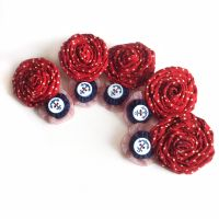 Rockabilly bridesmaids hair clips, hair flowers, red polka dot and navy