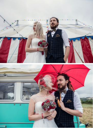 Festival wedding, rockabilly bouquet by Blue Lily Magnolia, photos Assassynation