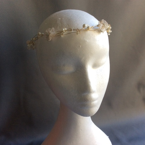Ivory and gold circlet with vintage lace flowers: Bohemian Dreams Collectio
