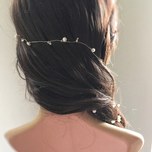 Single Ivory and Gold Bridal Hair Vine