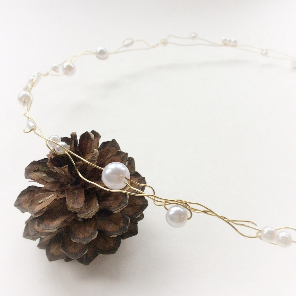 Gold and Ivory Simple Wedding Circlet