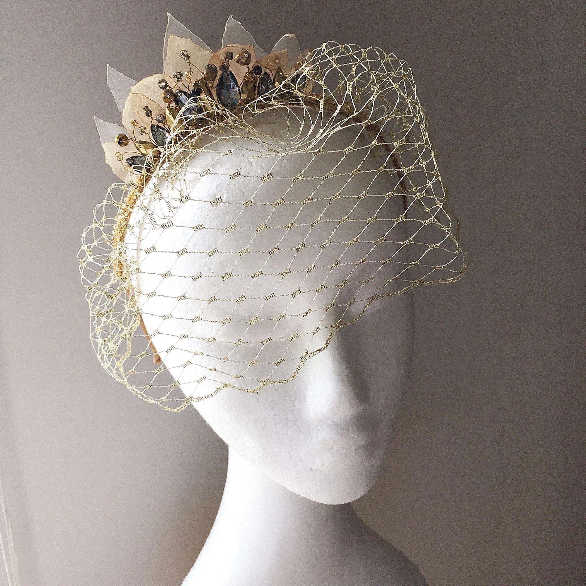 Gold and grey birdcage headband, races headpiece, vintage wedding