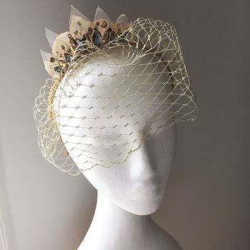 Gold and grey birdcage, races headpiece, alternative wedding