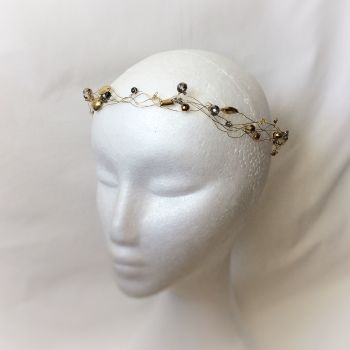 Gold and grey circlet, bridal halo and crown for alternative bride