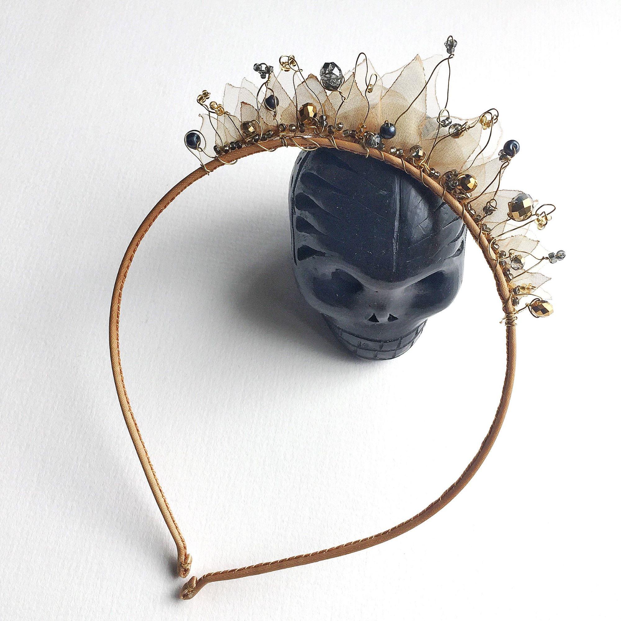 fairy wedding headband, fairy tale wedding, fantasy princess wedding headband, gold and grey woodland hair accessories