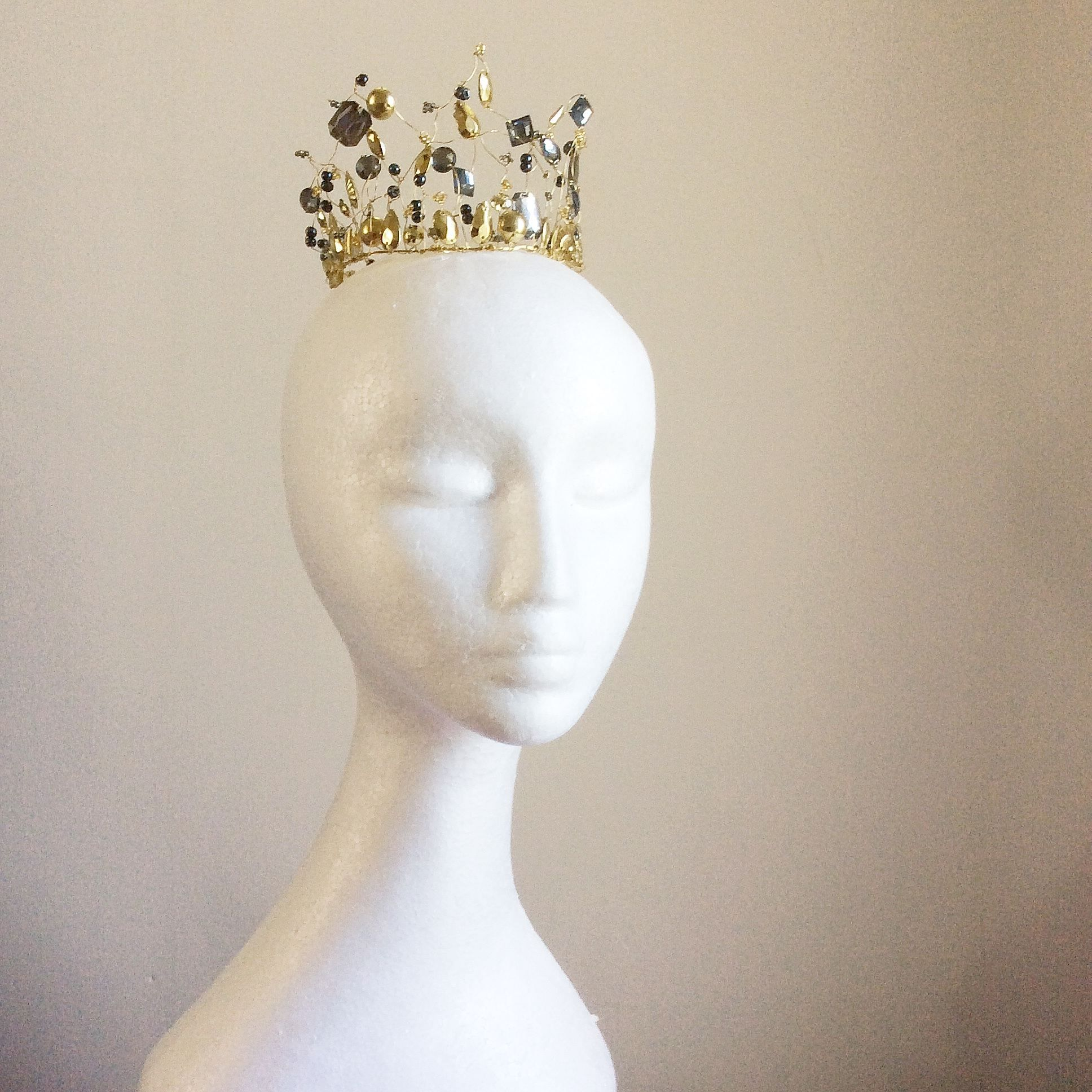 Princess crown, gold and grey coronet, fairy tale wedding, medieval wedding