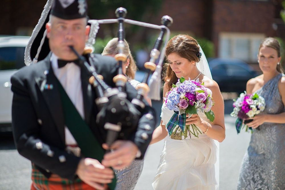 Bagpiper at Scottish wedding in Coogee beach