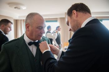 Father of the groom boutonniere, tartan lapel flower