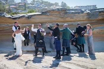 Coogee beach wedding, scottish kilts, scottish groom party