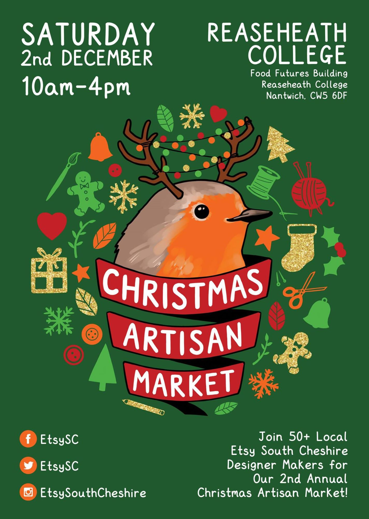 Etsy Made Local Nantwich, Reaseheath College, Etsy South Cheshire, Christmas Artisan Market