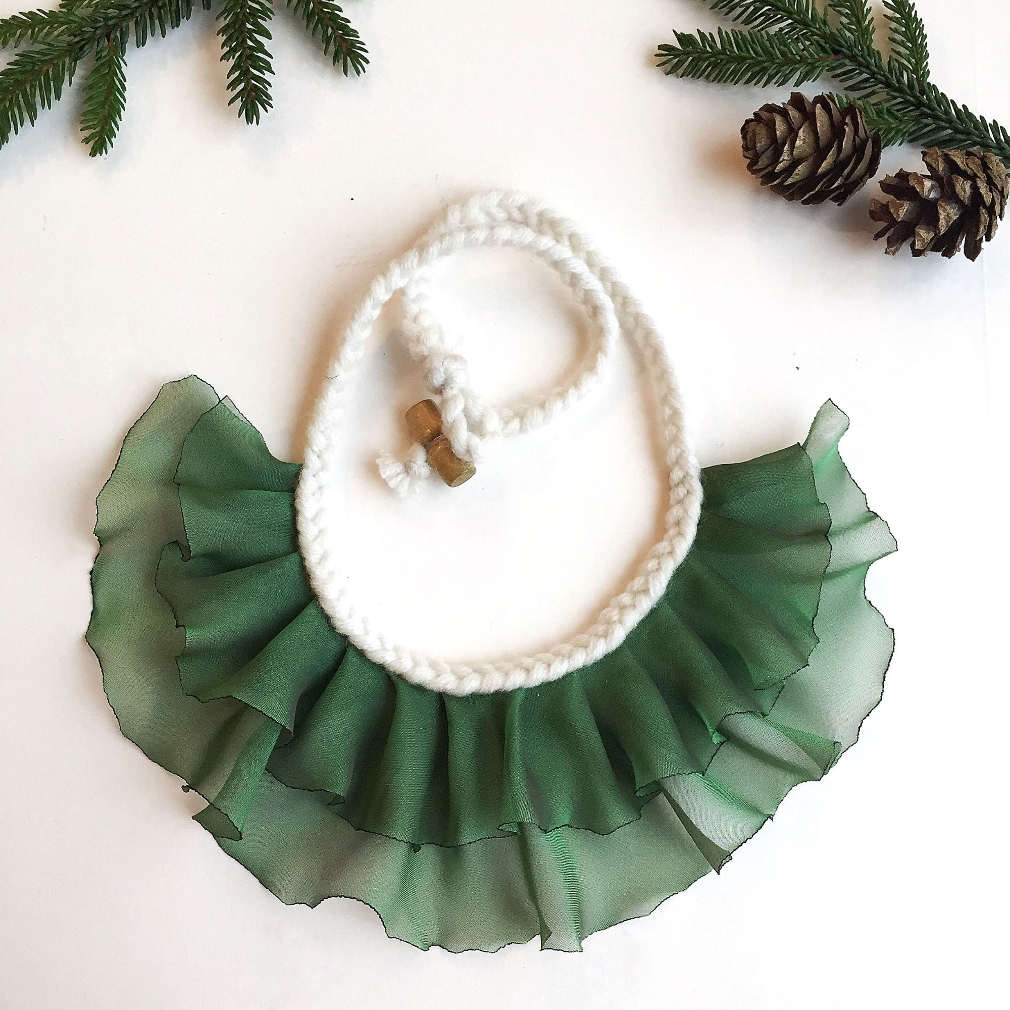 green statement necklace, greenery gift for her, fashion necklace, textile necklace