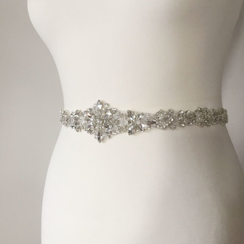 Rhinestone wedding belt sash with crystals and beads