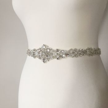 Rhinestone wedding belt sash with crystals and beads