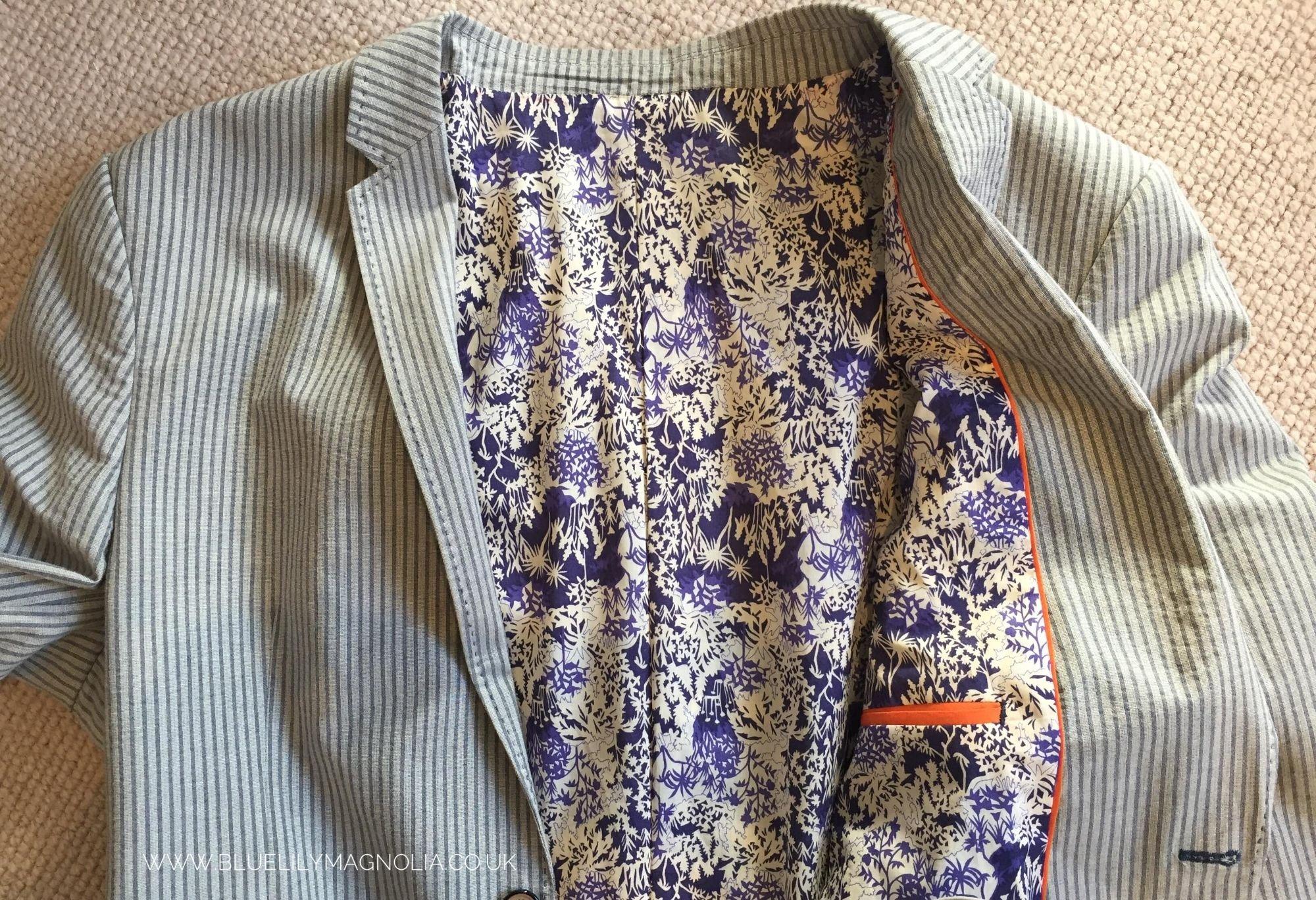 Bespoke jacket lining by Blue Lily Magnolia