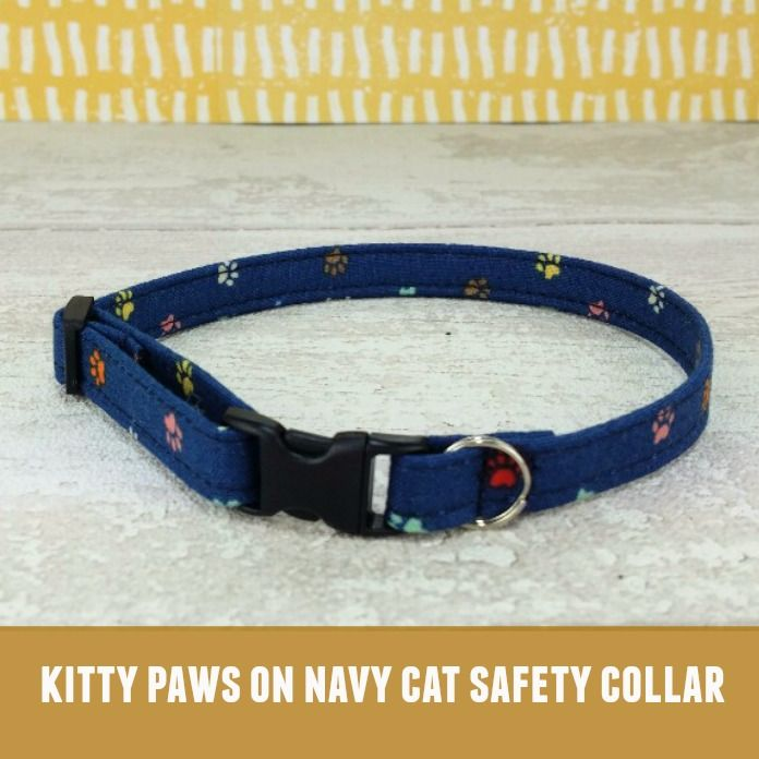 Cat Collar Kitty Paws on Navy