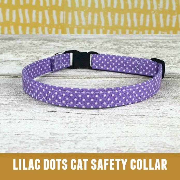 Cat Collar Lilac Swiss Dots