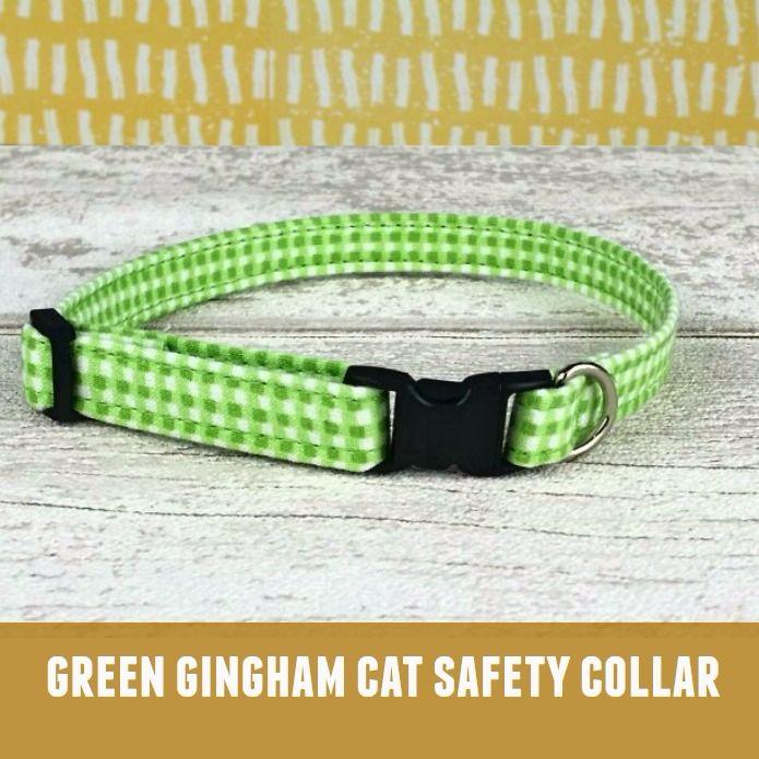 Cat Collar Green Gingham