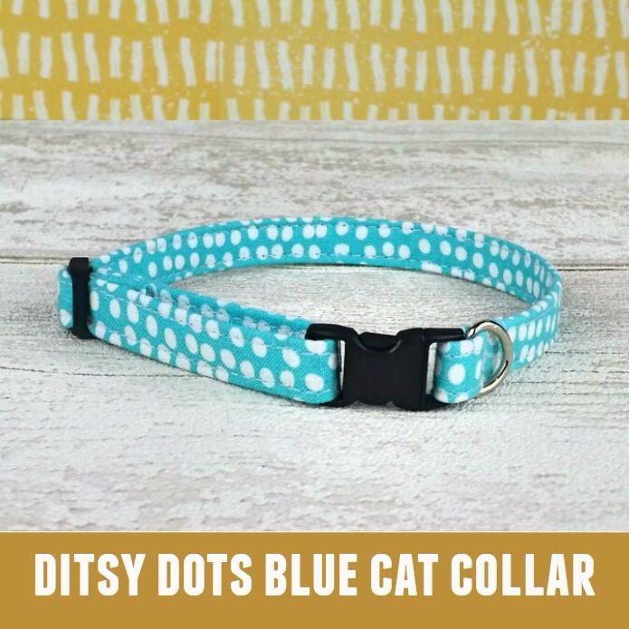 Cat Collar Ditzy Dots Blue