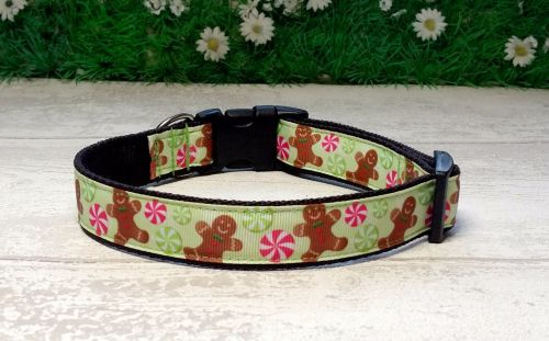 Gingerbread men Dog Collar Green