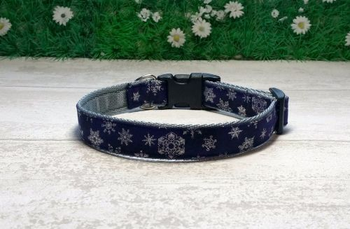 Silver on Navy Snowflakes Dog Collar