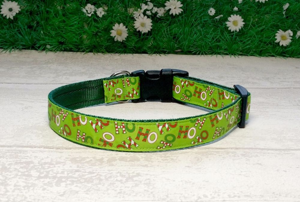 Green HoHoHo Dog Collar