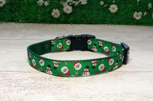 Santa and Snowmen on Green Dog Collar