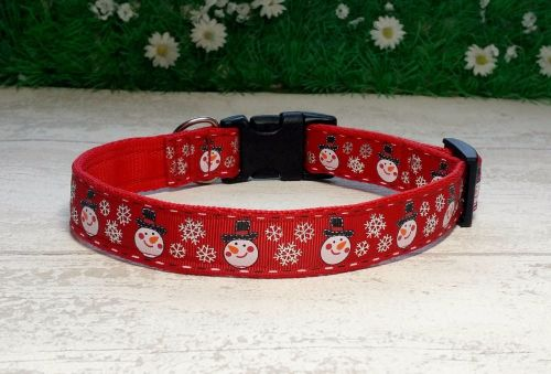 Snowmen and Snowflakes on Red Dog Collar