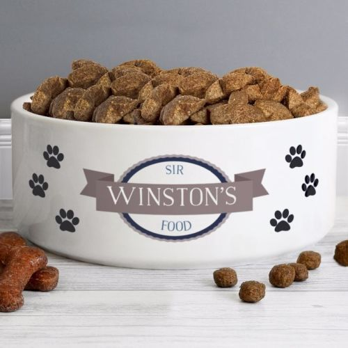 Personalised Dog Bowl with Blue Paws