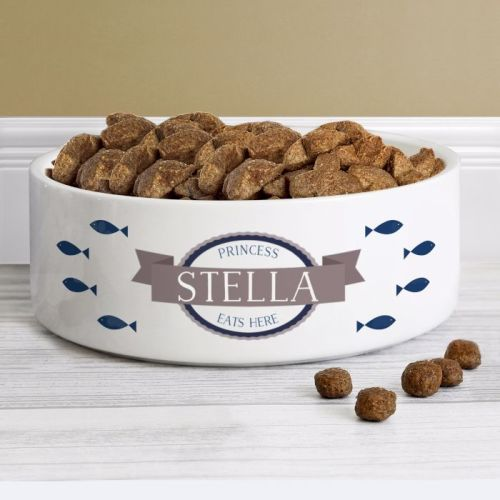 Personalised Cat Bowl with Blue Fish