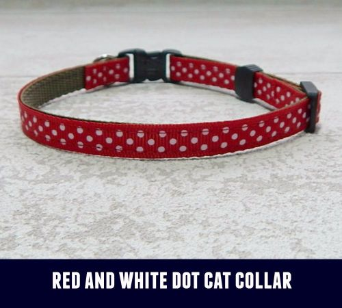 Cat Collar Red and White Dots