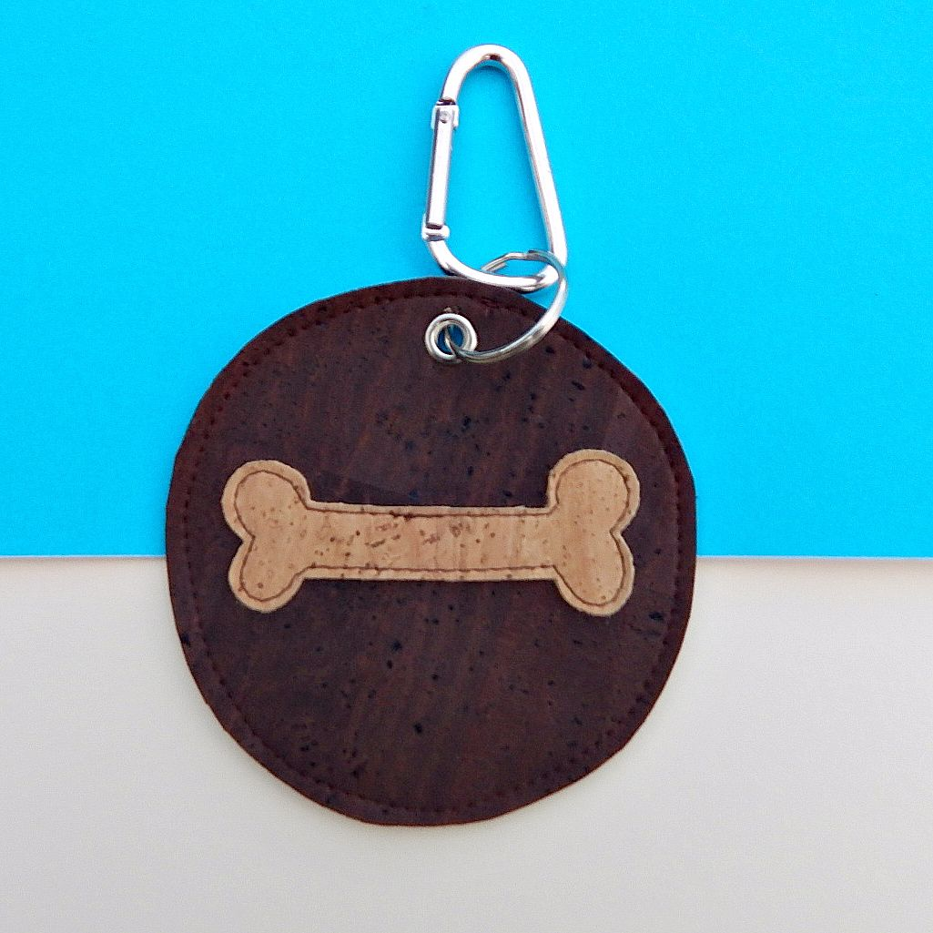 Cork Leather Poo Bag Holder Natural Bone
